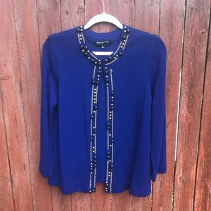 JNY Collection blue bead cardigan hook clasp